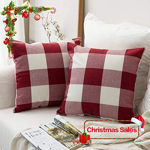 MIULEE Pack of 2 Christmas Decoration Classic Retro Checkers Plaids Cotton Linen Soft Soild Square Throw Pillow Covers Home Decor Design Cushion Case for Sofa Bedroom Car 20 x 20 (Design Pillow Cover)