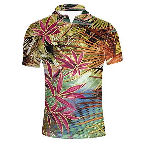 HUGS IDEA Hawaiian Men's Short Sleeve Classic Polos Jersey Shirt Summer Vintage Tropical Leaves Tee 3 Button Collars T-Shirt - Jersey Vintage Polo Shirt