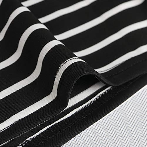 de Robe paule Stripe Noir Paquet Mini Robe Longues Robe Femmes Manches de de Flare Bandage Oblique Mesdames d'ajustement Sim Bellelove Hip ZqgHwFYF