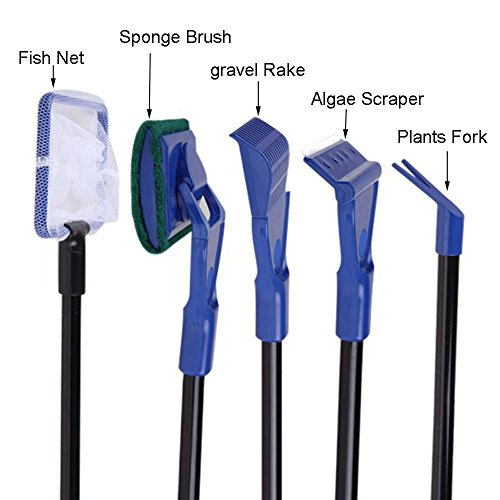 [해외]Owncons 5 in 1 완전 수족관 물고기 탱크 청소 세트 Fish Net + Rake + Scraper + Fork + Sponge Brush/Owncons 5 in 1 Complete Aquarium Fish