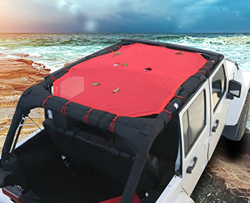 Bentolin New Red Durable Full Cover Mesh Shade Top Sunshade UV Protection for Jeep Wrangler 2007-2017 4 Door