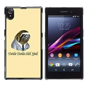 YOYOSHOP [Dollar Bill Funny Sloth] Sony Xperia Z1 L39h Case