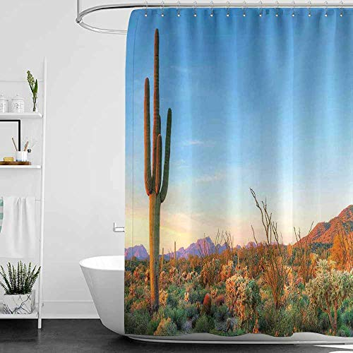 SKDSArts Shower Curtains Victorian Saguaro,Sun Goes Down in Desert Prickly Pear Cactus Southwest Texas National Park,Orange Blue Green,W60 x L72,Shower Curtain for Girls Bathroom