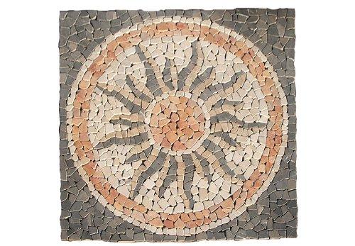 DIVERO 120 x 120cm Naturstein-Mosaik Motiv Sonne aus 16 Matten je 30 x 30cm Fliesen für Wand Boden Bruchstein grau rose creme