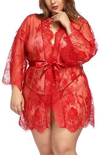 TGD Womens Lingerie Lace Plus Size Kimono Robe Mesh Nightgown Dress -