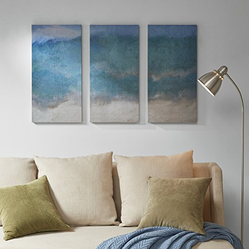 Décor 5 Printed Triptych Canvas Set - 3 Pieces, 14'' x 28'' - Abyss - Abstract, Landscape, Aqua, Teal by Décor 5