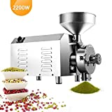 Large Commercial Grain Grinding Industrial Machine Electric Beer Grain Mill Grinder Nutri Mill Flour Motorized Stainless Steel Barley Crusher for Wheat Corn Coffee Pepper Soybean, 30-50kg/h (2200W)