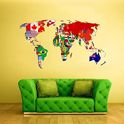 Amazon full color wall decal mural sticker decor art world map full color wall decal mural sticker decor art world map banners flag countries paintings col347 gumiabroncs Image collections
