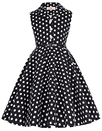 Retro Polk Dot Summer Garden Party Dresses with Buttons 11yrs -
