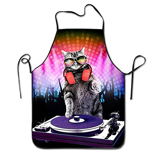 DJ Cat Turntable Mixer Personalized Aprons Home Bib Apron For Women Men Girl Kids Gifts Kitchen Decorations
