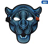SaveStore Sound Activated Halloween Mask,Halloween Party Mask The Sound Reactive Led Mask