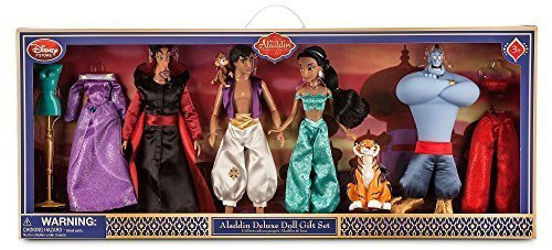 [Aladdin Disney Deluxe Doll Gift Set, Action Figures of Aladdin, Jasmine, Genie, Jafar, Abu, Rajah and] (Genie Outfit)