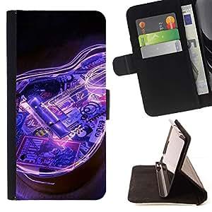 Momo Phone Case / Flip Funda de Cuero Case Cover - Guitarra eléctrica azul del instrumento de música Negro - Samsung Galaxy S5 V SM-G900