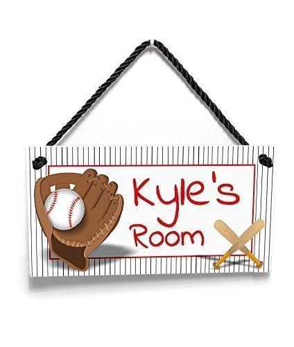 Personalized Grey Striped Bedroom Door Sign - Baseball Theme