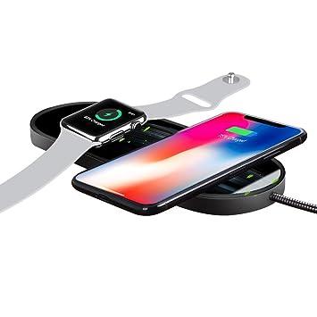 Sararoom Cargador Inalámbrico 2 en 1 Qi Cargador Inalámbrico Rápido Funciona con Iwatch 2 3 iPhone 8 iPhone X/XS, S6 / S6 Edge/Note 5 / S7 / S7 Edge / ...