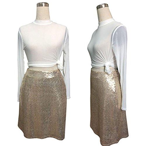 4470ad4cf125 ... YOUJIA Damen A-Linie Pailletten Rock für Tanz Glänzend Knielang Taille  Haute Partykleid Clubwear Champagner