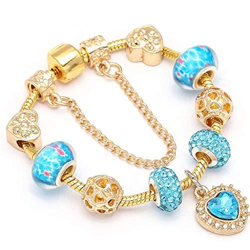 Gift with Regard to Girlfriend European Style Azure Heart Charm Bracelets; Bangles Marano Beads Fits Fine Bracelets for Ladies Jewelry Girlfriend Gift Design ()