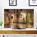 quarter round cord cover - Cord Cover for Wall Mounted tv Gothic Ancient Stone Quarter of Barcelona Spain Renaissance Heritage Gothic Night Street Photo Cover Mounted tv W35 x H55 INCH/TV 60