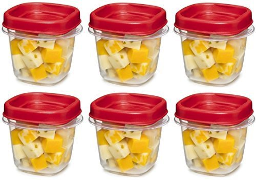 (Rubbermaid kkk 781147333731 Easy Find Lid Square 1/2-Cup Food Storage Container, 6 Pack, Cups, Clear with Red)