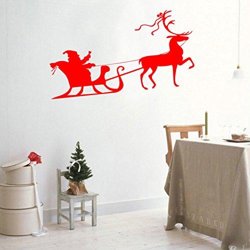 Christmas Holiday Santa's Sleigh and Reindeer Vinyl Wall Art Decal - 20.8