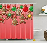Ambesonne Gingerbread Man Shower Curtain, Christmas Cookies and Baubles with Bowties Symbolic Pastry Kids Design, Fabric Bathroom Decor Set with Hooks, 70 Inches, Multicolor