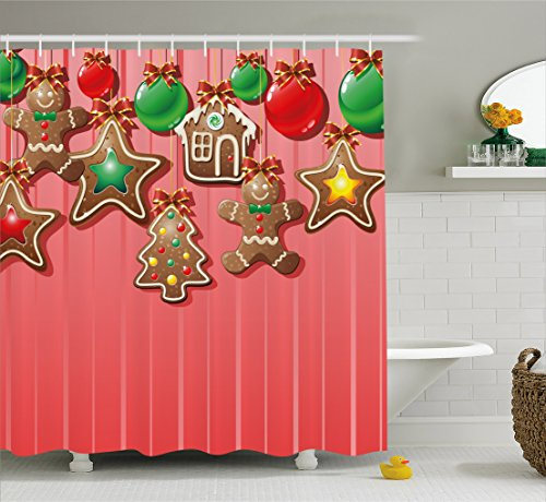 Ambesonne Gingerbread Man Shower Curtain, Christmas Cookies and Baubles with Bowties Symbolic Pastry Kids Design, Fabric Bathroom Decor Set with Hooks, 70 Inches, Multicolor by Ambesonne