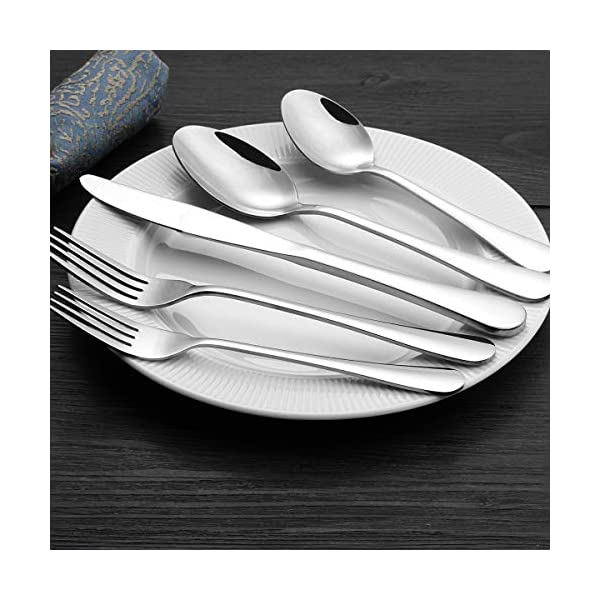 Silverware Set 20-Piece, Wildone Stainless Steel Flatware Cutlery Set Service for 4, Tableware Eating Utensils Include… 5
