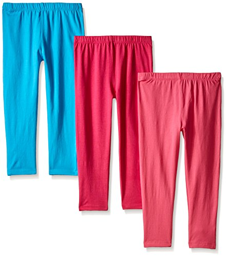 Limited Too Big Girls' 3 Piece Lycra Jersey Capri Legging, Hot Pink/Turquoise/Coral, Large/6X