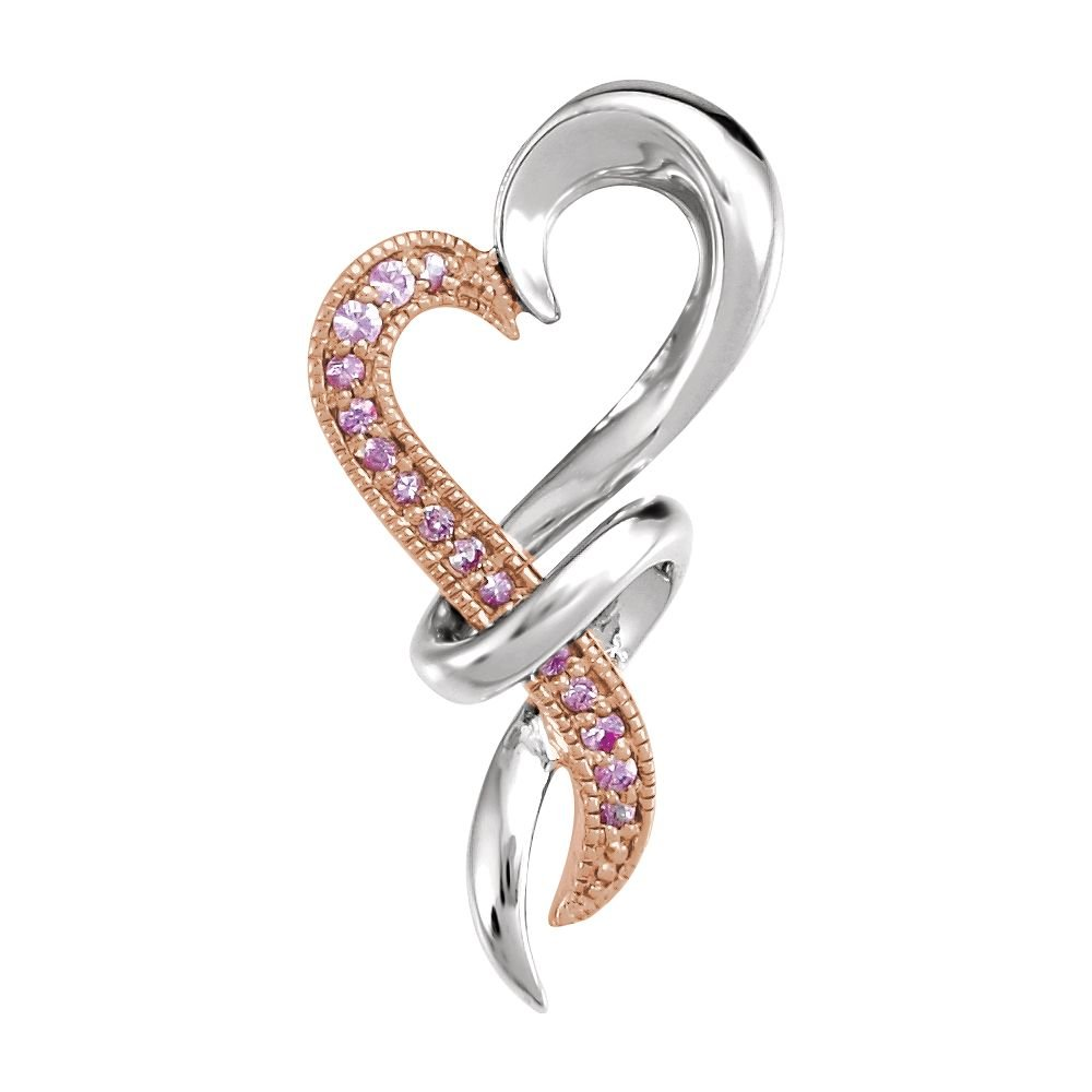 FB Jewels 925 Sterling Silver with Rose Rhodium-Plating Pink Sapphire Heart Pendant