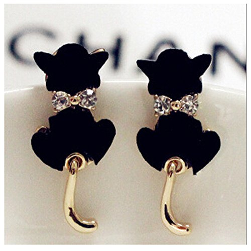 Elakaka Cute Kitten Bow Earrings (Black)