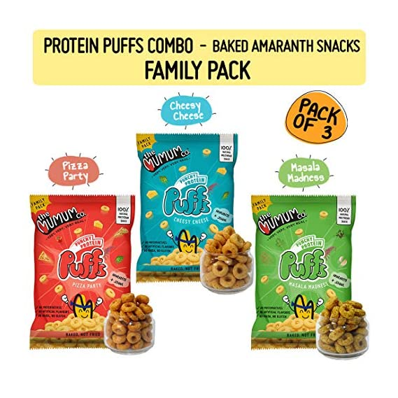 The Mumum Co. Protein Puffs Combo Healthy Snacks for Kids, 180 g- Pack of 3
