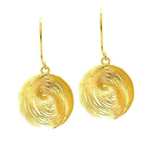 14K Or jaune Clam Shell comme Fancy Dangle Boucles d'oreilles