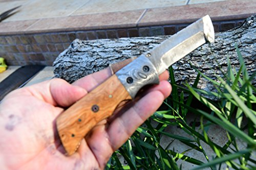 DKC Knives (1 5/18) SALE DKC-27-OW WIZARD Olive Wood Handle 7'' Long, 4'' Folded 6oz Damascus Tanto Folding Pocket Hunting Knife TM (Damascus Steel) by DKC Knives