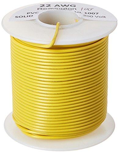 Remington Industries 22UL1007SLDYEL UL1007 22 AWG Gauge Solid Hook-Up Wire, 300V, 0.0253 Diameter, 100 Length, Yellow