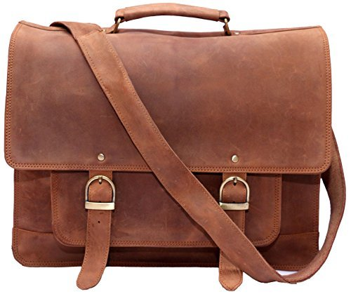 Feather Feel 16 inches Genuine Leather Messenger Bag Men Leather Briefcase Laptop Bag Macbook Satchel School Bag Office Rugged