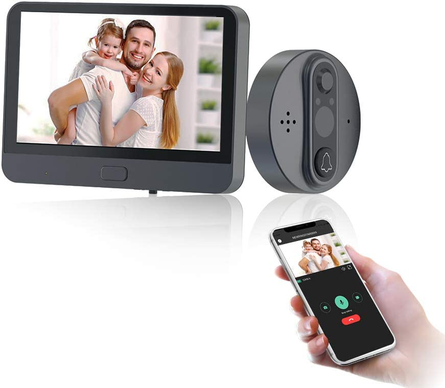 BCOM Digital Peephole Viewer WiFi Door Viewer Door Peephole 100°Wide Angle AHD 720P Camera TFT Screen 4.3 inch Smart Phone Tuya APP Remote PIR Motion