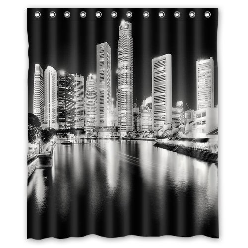 Unique And Generic Black White Cityscape Night Shower Curtain Custom Printed Waterproof Fabric Polyester Bath