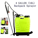 shaofu Portable Pressure Knapsack Sprayer, Hand Piston Pump Sprayers, Backpack Sprayer for Lawn Garden Farm Yard (US STOCK) (4-Gallon 16L)