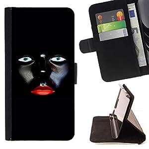 For LG Nexus 5 D820 D821 Case , Labios rojos de la mujer minimalista del diseño del arte- la tarjeta de Crédito Slots PU Funda de cuero Monedero caso cubierta de piel
