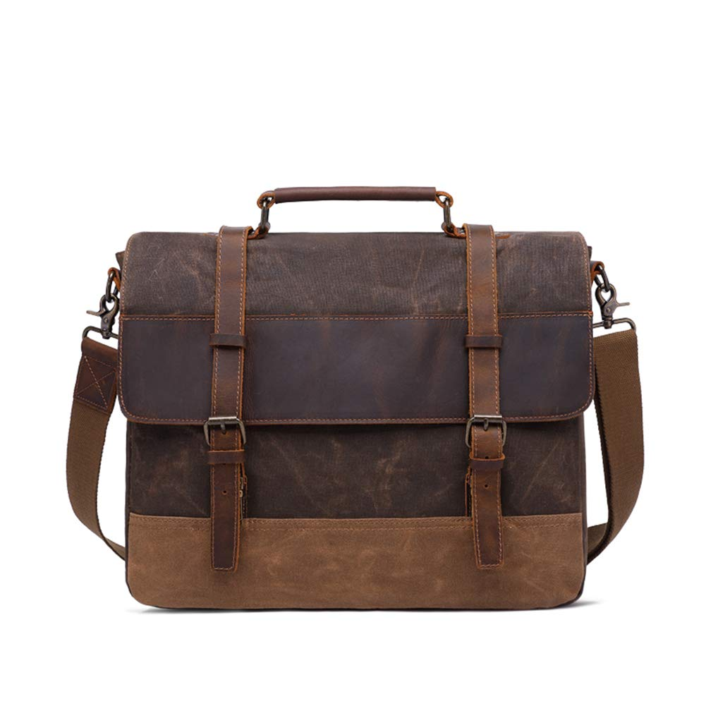 YZ-Hb Messenger Bag Satchel Vintage Leinwand Leder Arbeitstasche Aktenkoffer Passt 14 Zoll Laptop