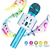 FishOaky Wireless Bluetooth Karaoke Microphone, Portable Kids Microphone Karaoke Player Speaker with LED & Music Singing Voice Recording for Home KTV Kids Outdoor Birthday Party (Blue 01)