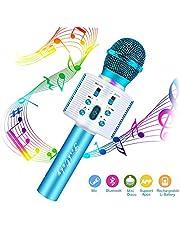 Micrófono Inalámbrico Karaoke Bluetooth, FishOaky Portátil Altavoces Microfono, LED Microfono Niños para Cantar, Función de Eco, Compatible con Android/IOS/PC