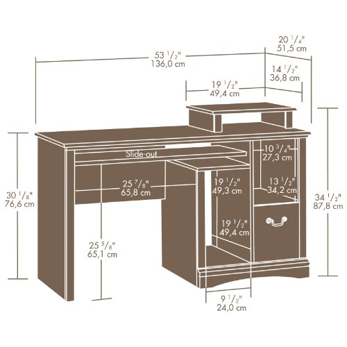 Sauder Camden County Computer Desk Planked Cherry Finish