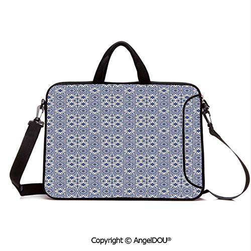 AngelDOU Neoprene Laptop Shoulder Bag Case Sleeve with Handle and Extra Pocket Portuguese Tiles Squares Grid Style Pattern Oriental Motif Arabesque Decorative Compatible with MacBook/Ultrabook/HP/Ac