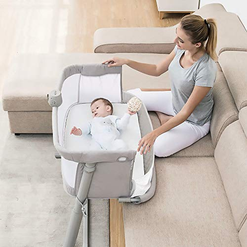 51N0QEwcZhL - Baby Bassinet,RONBEI Bedside Sleeper Baby Bed Cribs,Baby Bed To Bed, Newborn Baby Crib,Adjustable Portable Bed For Infant/Baby Boy/Baby Girl (Bassinet)