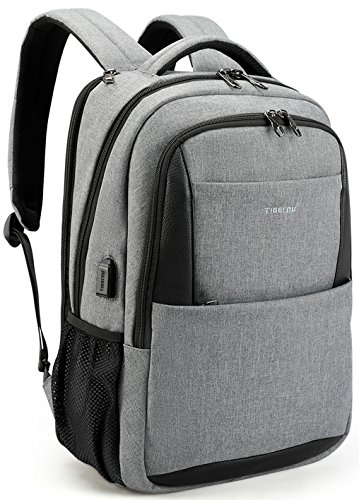 Notebook Trolley (TIGERNU Anti Theft Laptop Backpack with USB Charging Port, Business Travel Slim Computer Bag for Men/Women, Water Resistant College School Bookbag Fits Laptops and Notebook UNDER 15.6 Inch, Grey)