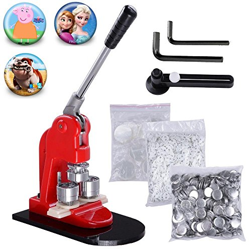 Superland 1.25 Inch Button Maker Button Badge Maker Machine Button Press Punch with 1000 Parts and Circle Cutter (32mm with 1000 Button Parts)
