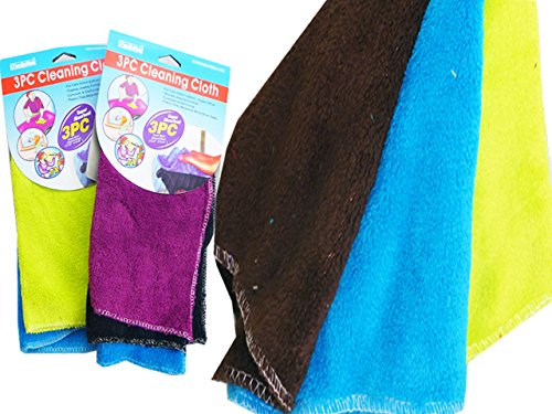 CLEANING CLOTH 3PC MICROFIBER 30X30CM OLD NO 12256 , Case of 96 by DollarItemDirect