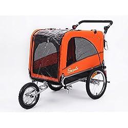 Sepnine & Leonpets 3 in 1 Luxury Large Sized Bike Trailer Bicycle Pet Trailer/Jogger/Dog Cage with Suspension 10308 (Orange/Black)