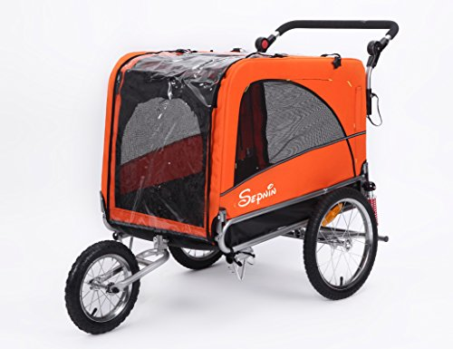 Sepnine & Leonpets Dog cart of 3 in 1 Luxury Large Sized Bike Trailer Bicycle Pet Trailer/Jogger/Dog Cage with Suspension 10308 (Orange/Black)